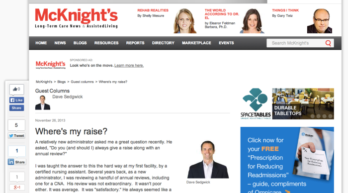Guest Column for McKnight's regarding annual reviews and raises